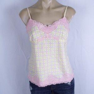 Express Yellow & Pink Lace Tank Top